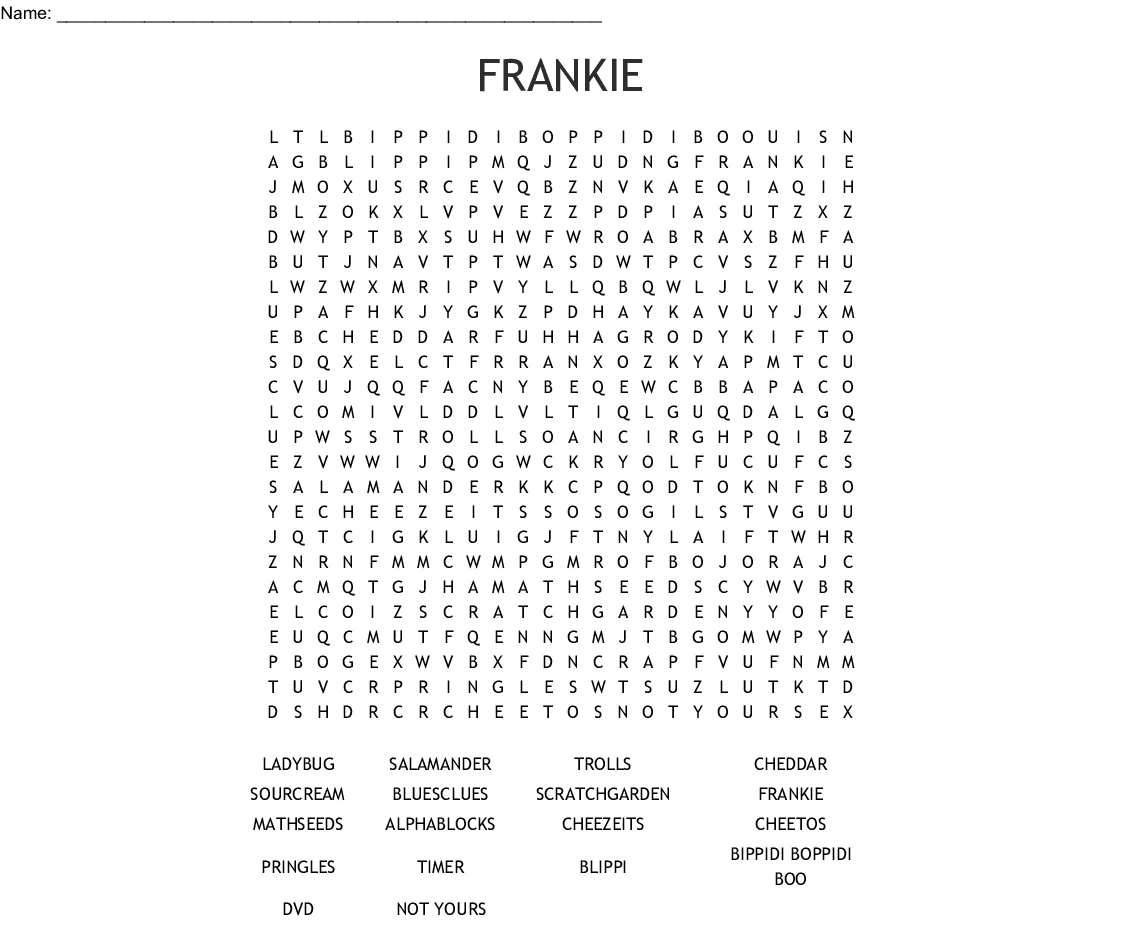 Frankie Word Search