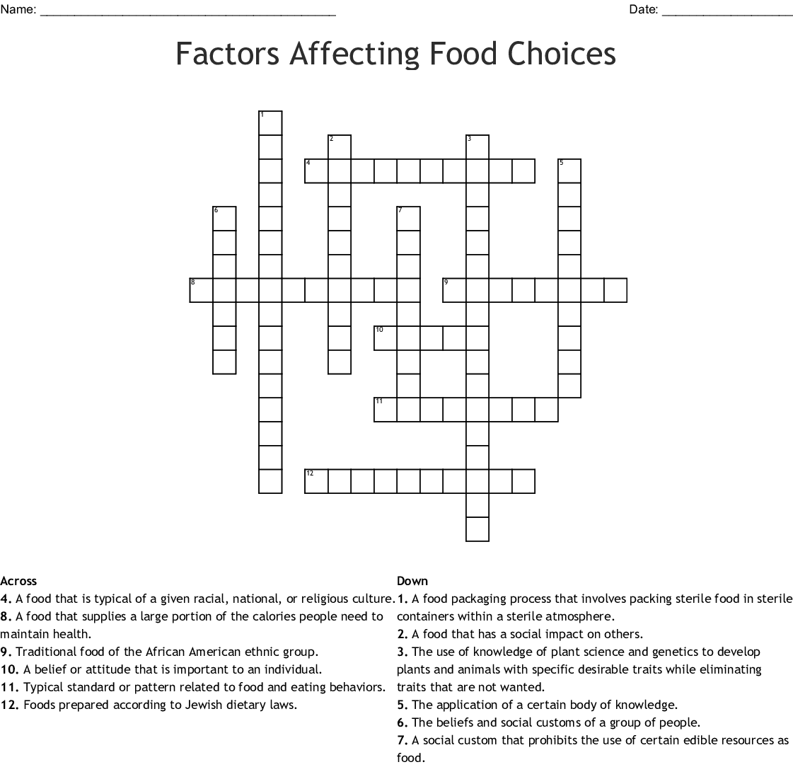 Factors Affecting Food Choices Crossword