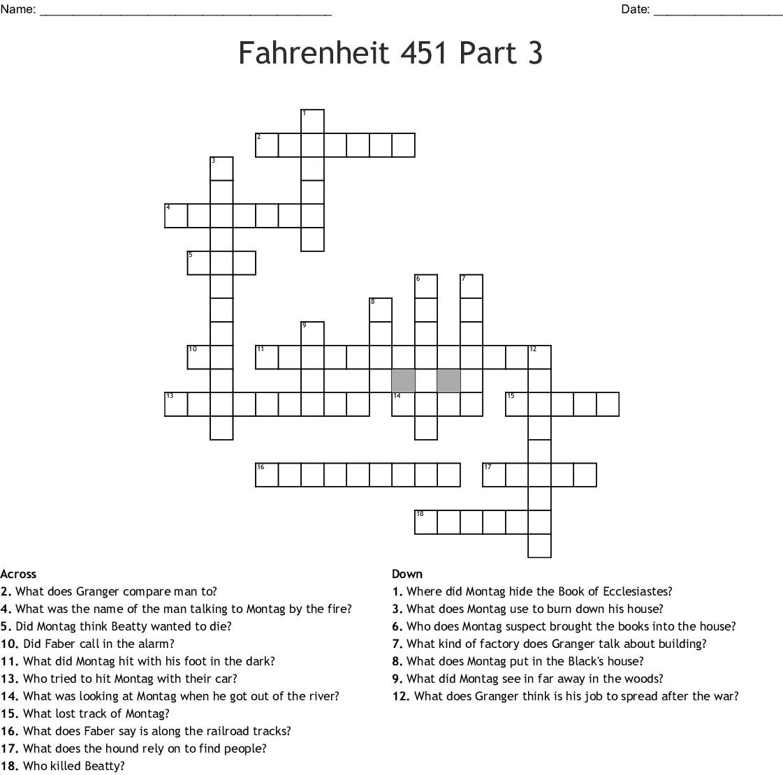 Fahrenheit 451 Crossword