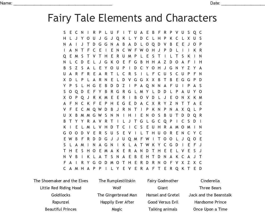 Shrek Characters Word Search
