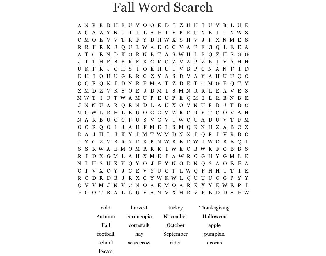 Fall Word Search Puzzle