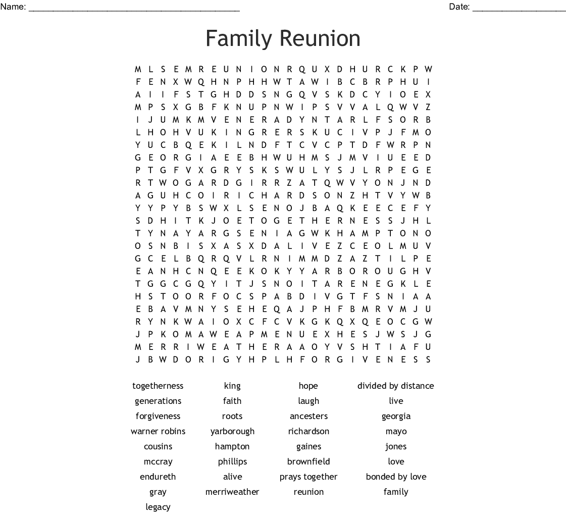 Family Reunion Word Search