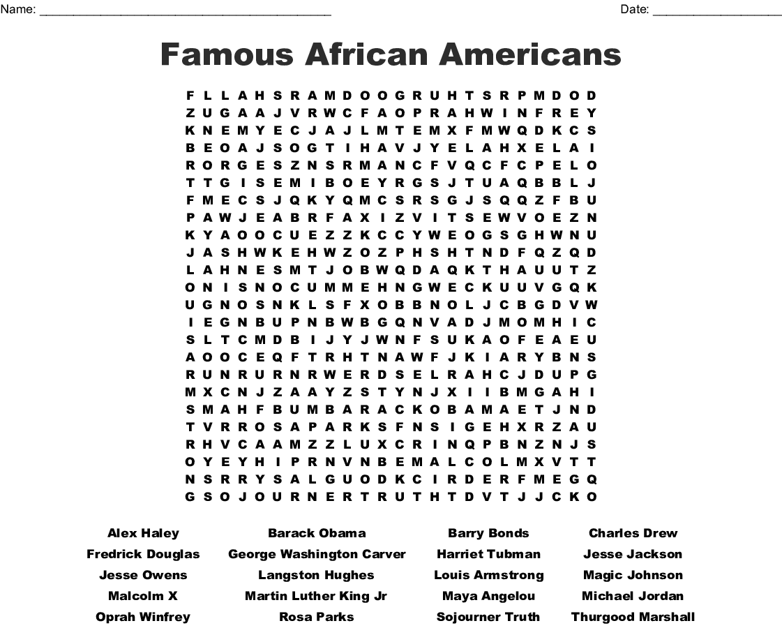 Famous African American Word Search