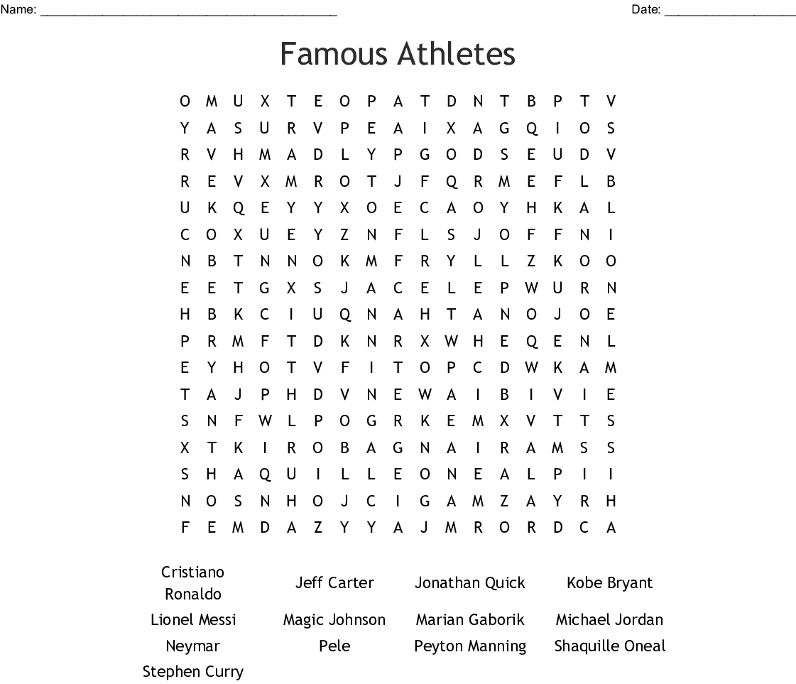 Famous Athletes Word Search