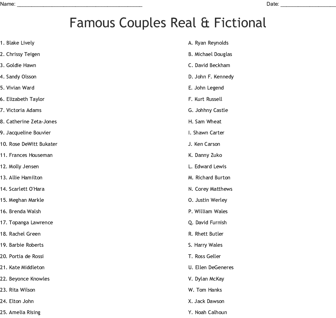 Famous Couples Real Amp Fictional Worksheet