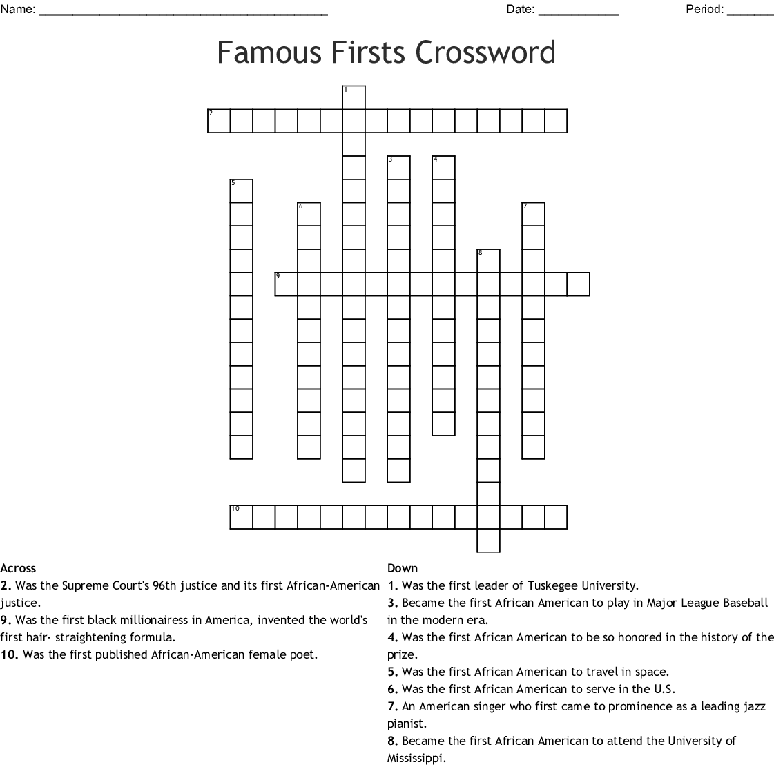 Famous Firsts Crossword