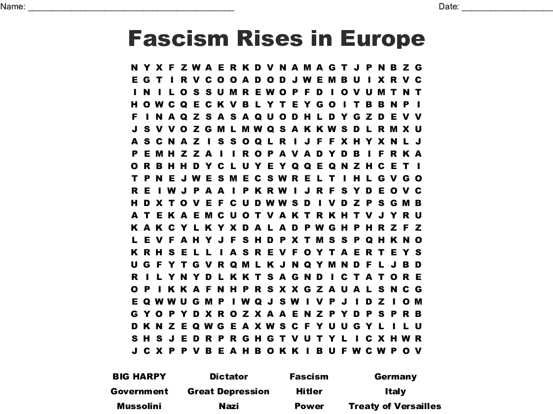 Fascism Rises In Europe Word Search