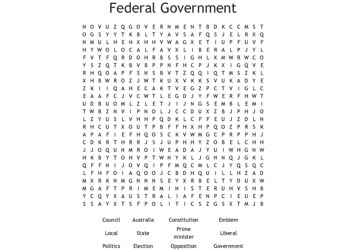 Federal Government Word Search