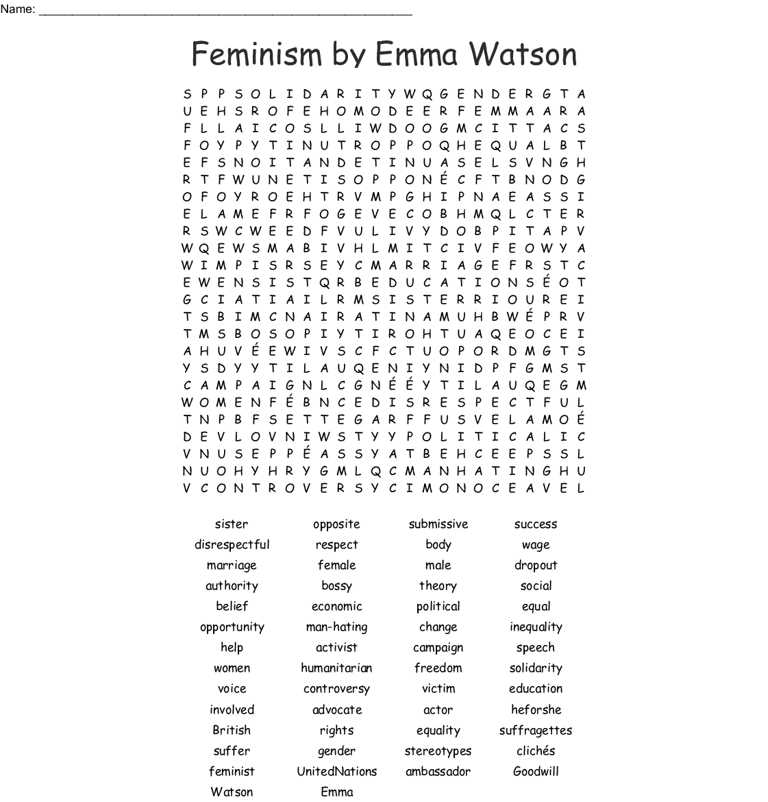 Gender Equality Word Search