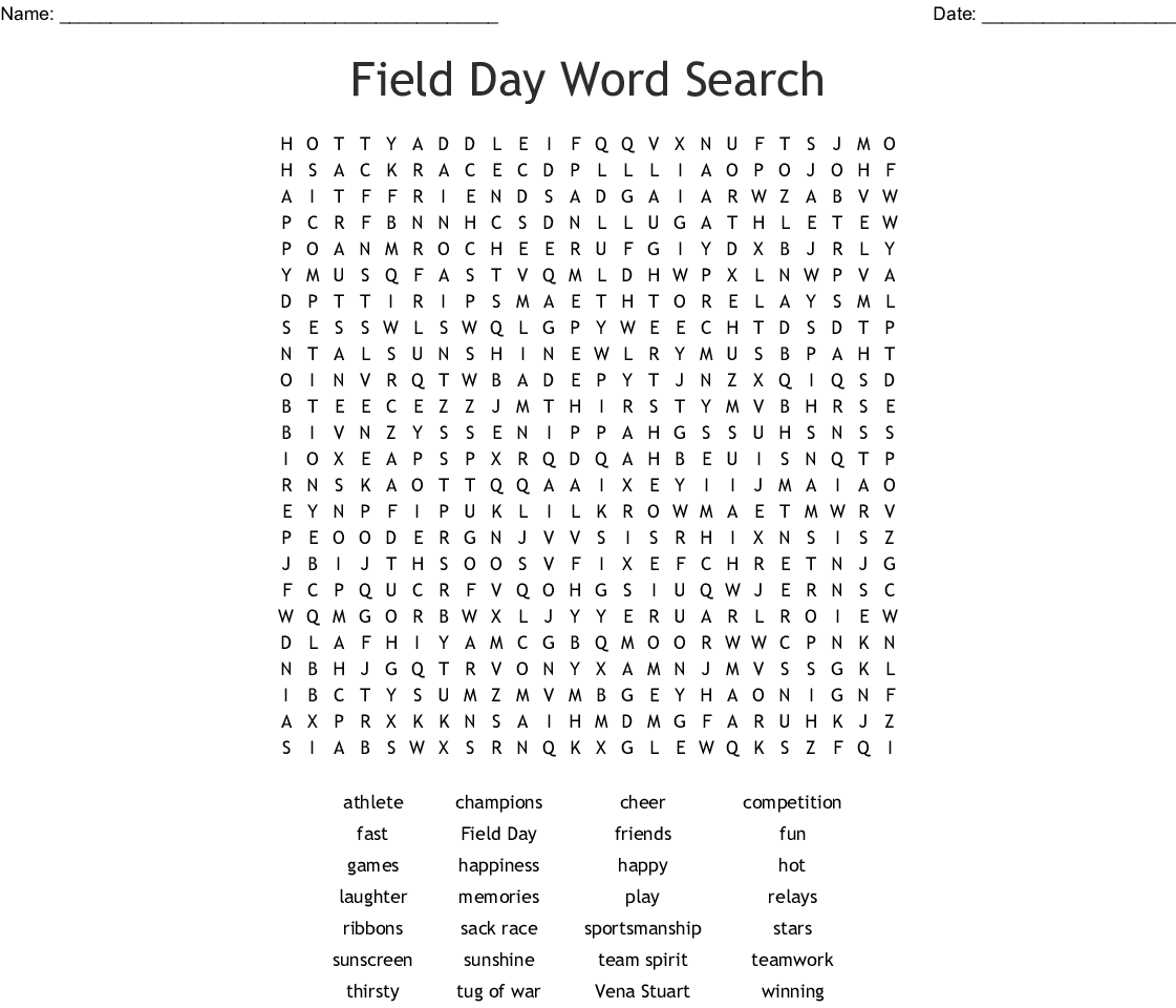 Field Day Word Search