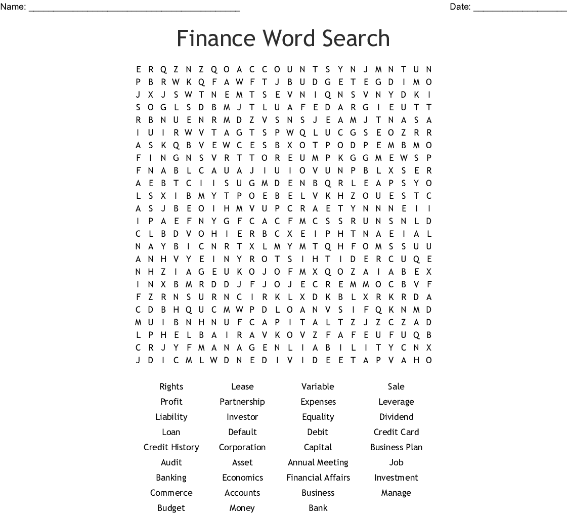 Finance Word Search