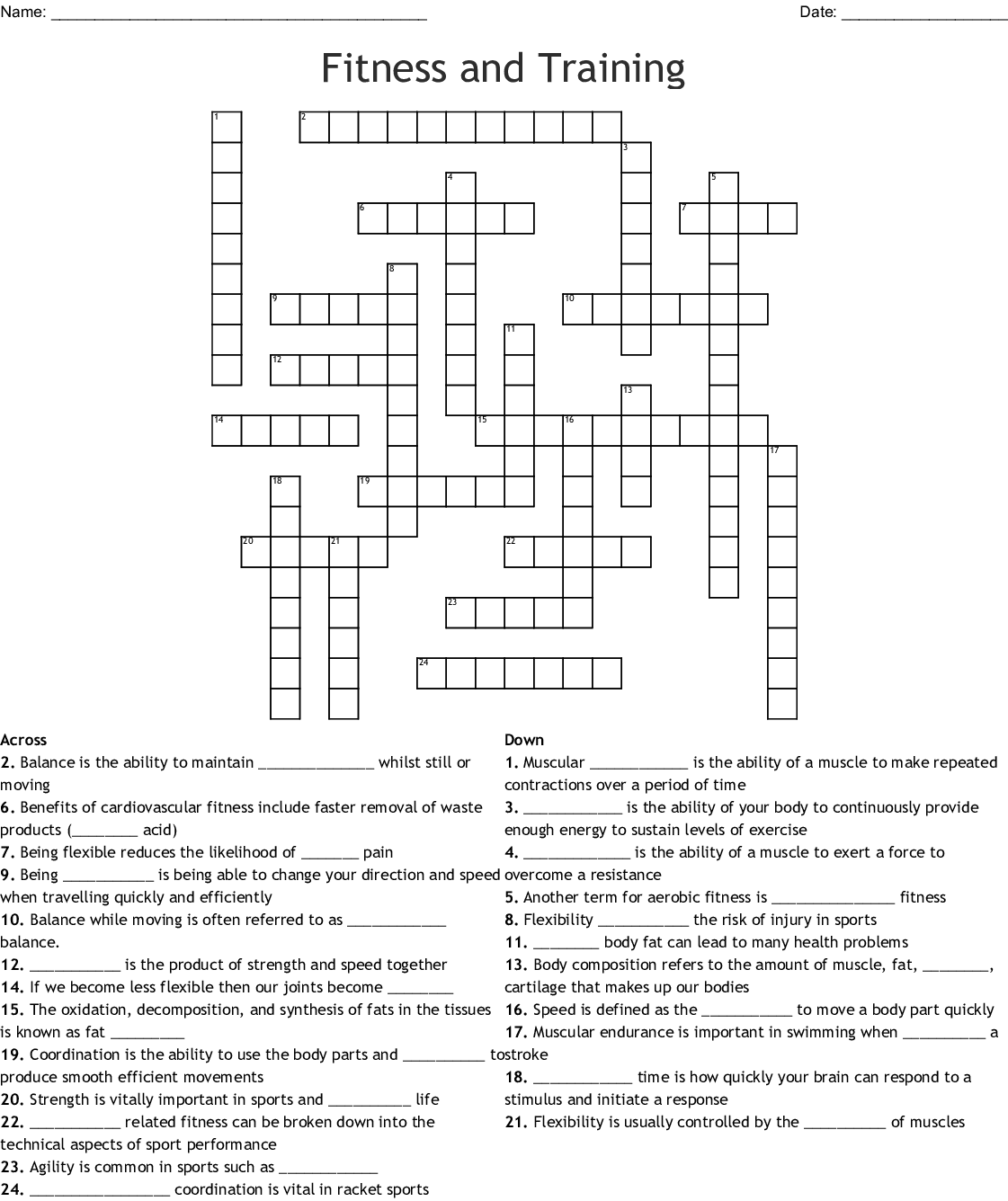 Benefits Of Exercise Crossword