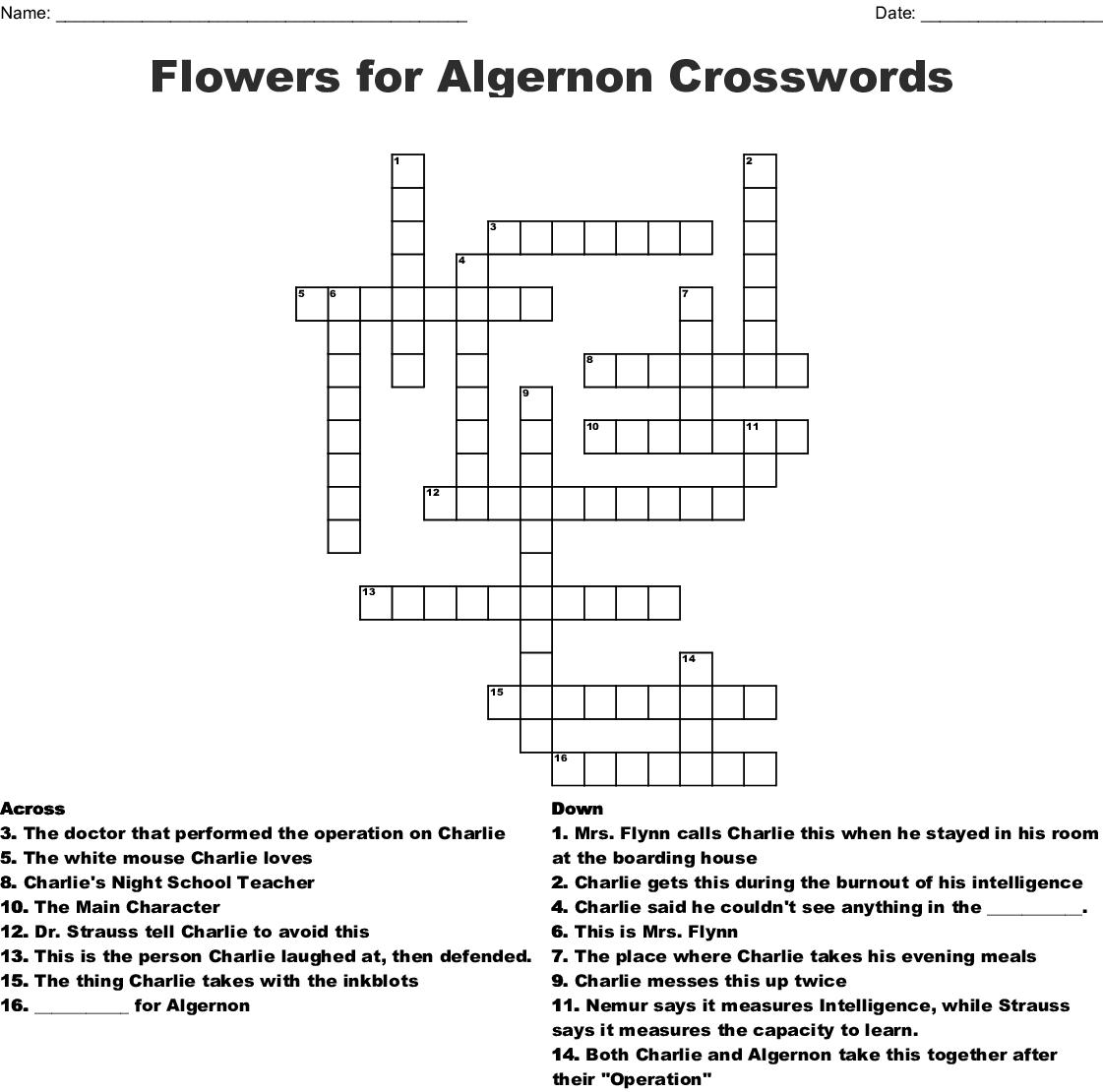Flowers For Algernon Crosswords