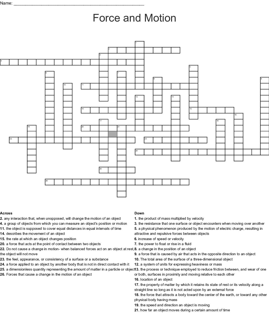 Science Matter Crossword