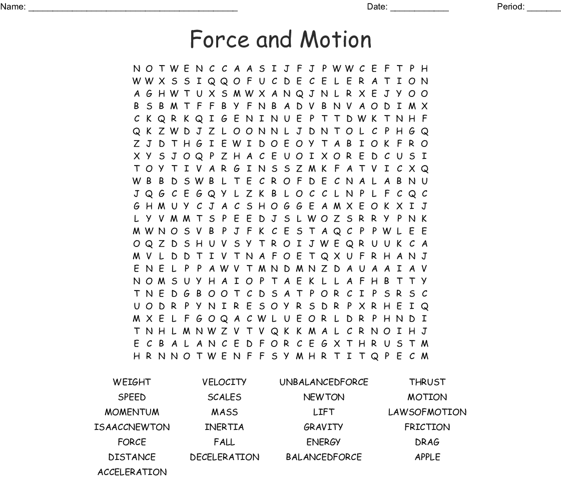 Forces Wordsearch