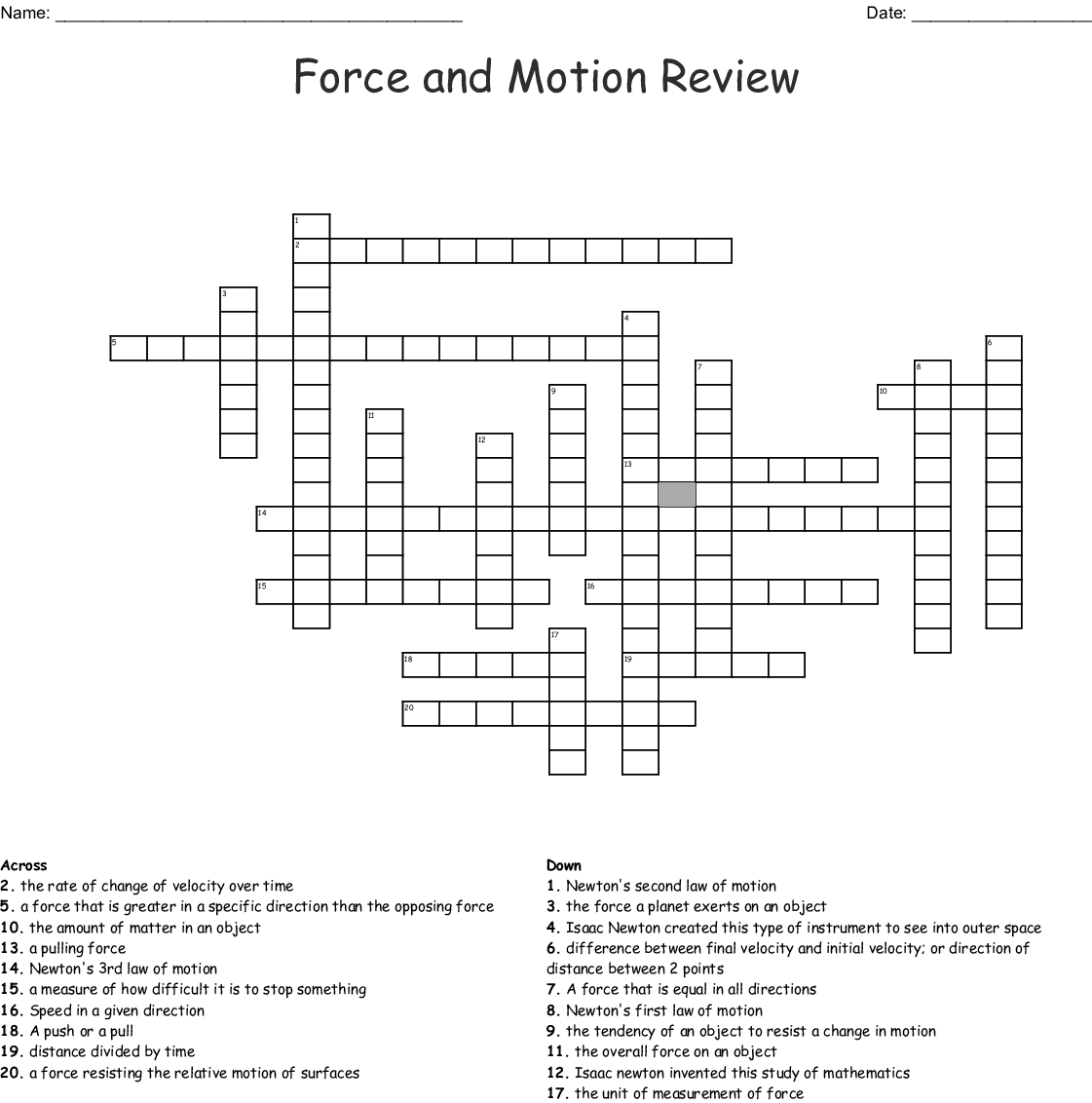 Force Amp Motion Word Search