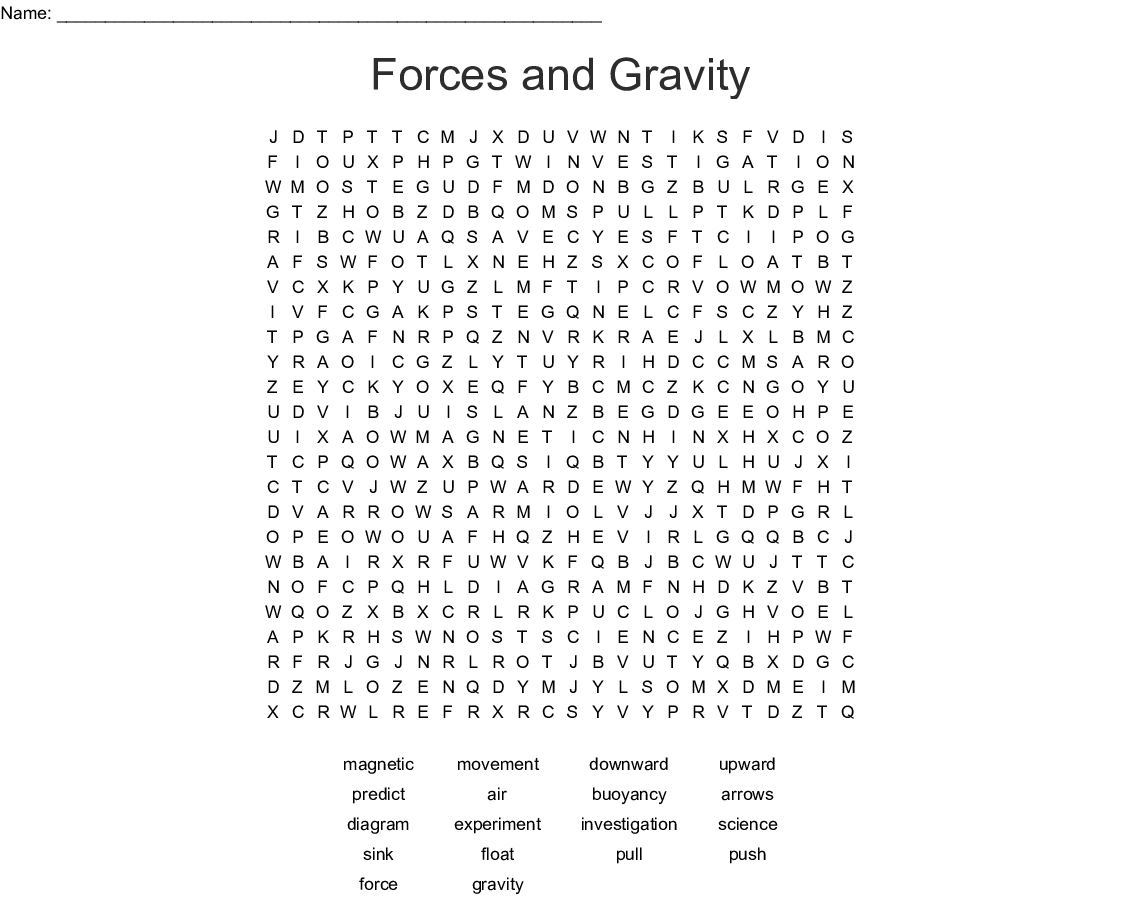 Forces And Gravity Word Search