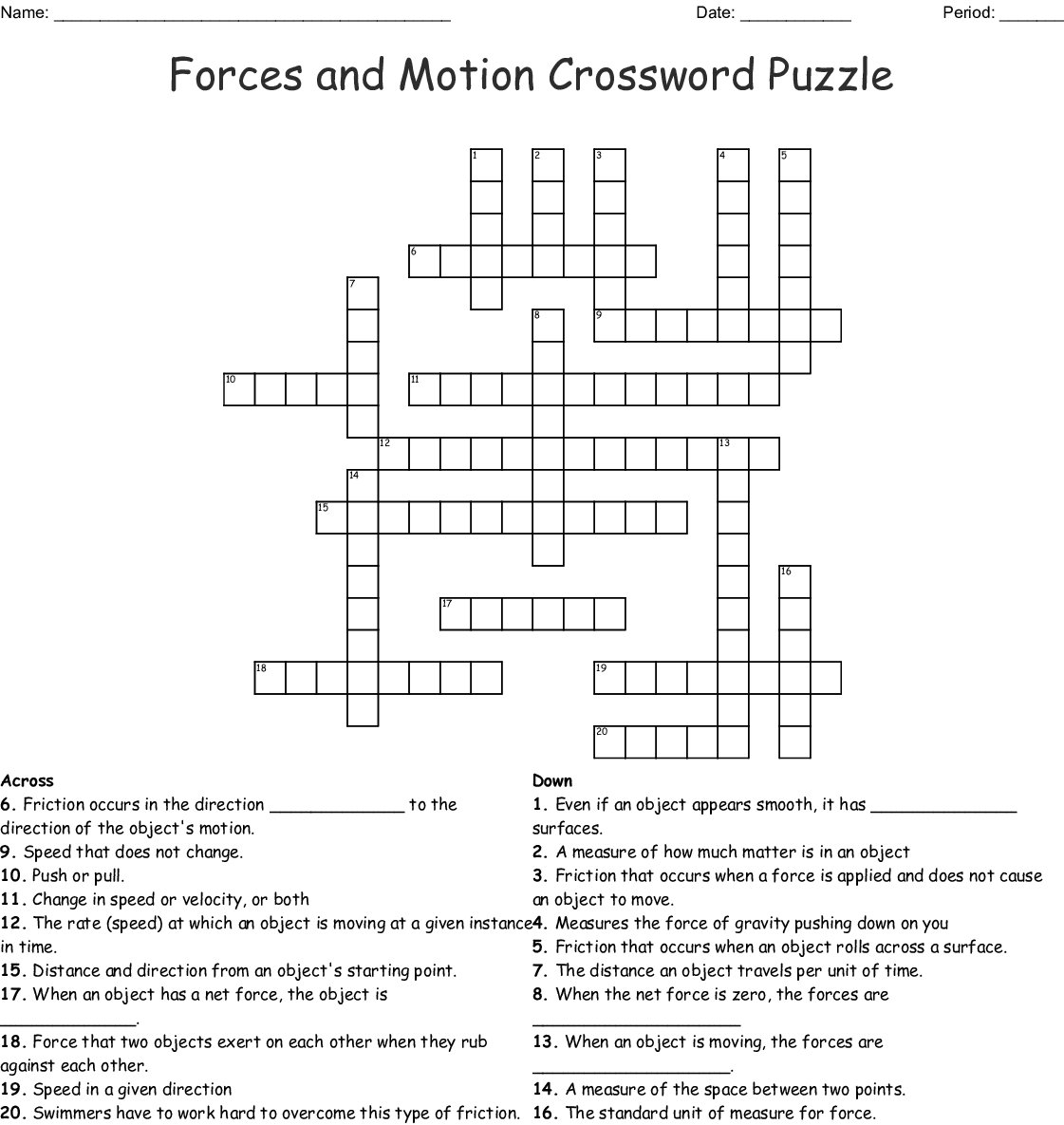 Forces And Motion Crossword Puzzle