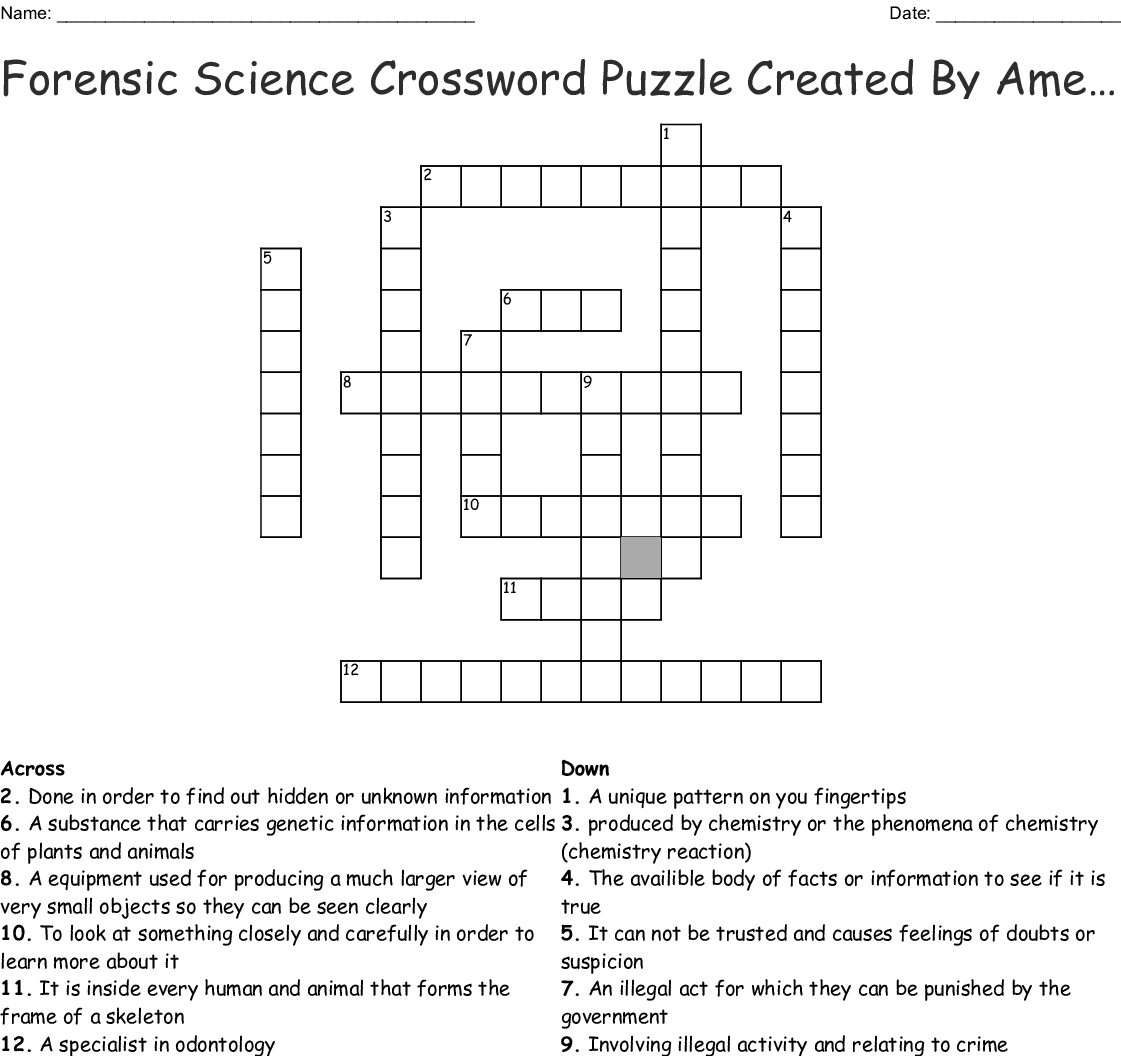 Science Crosswords Word Searches Bingo Cards