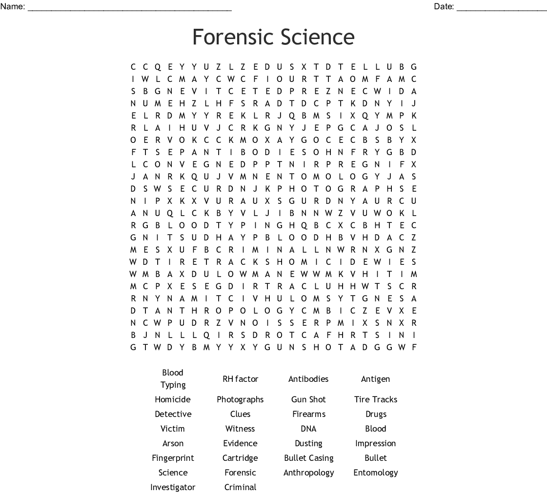 Forensic Science Word Search
