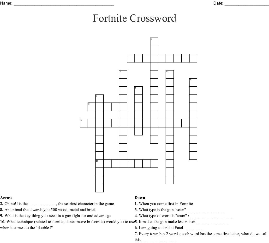Fortnite Crossword Puzzle Printable