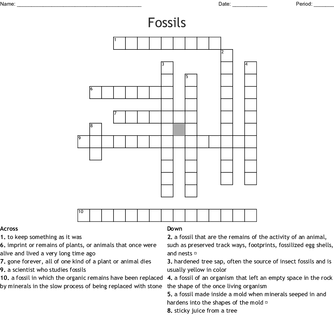 Fossils Crossword Puzzle