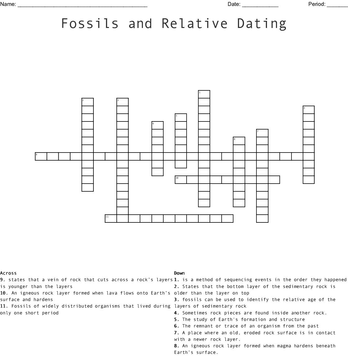 Fossils And Relative Dating Crossword