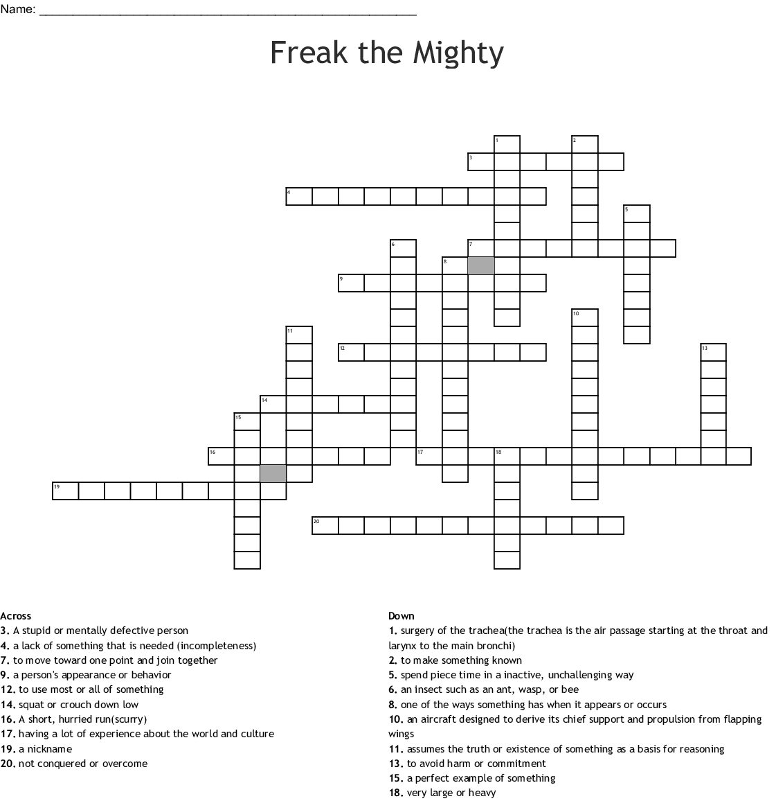 Freak The Mighty Chapters 1 8 Crossword