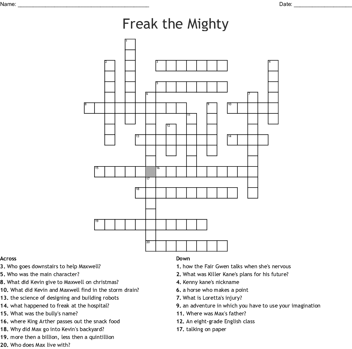 Freak The Mighty Crossword