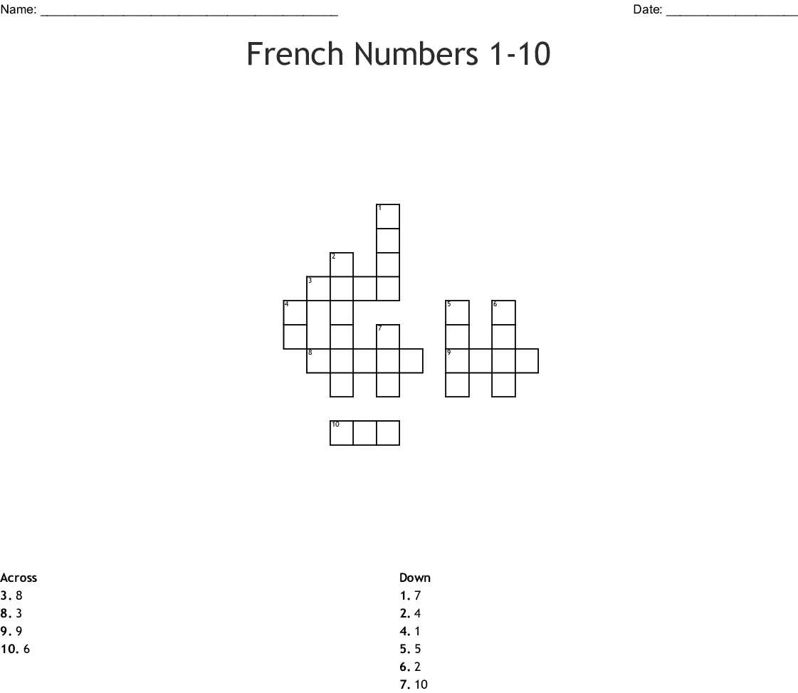 French Numbers 1 10 Crossword
