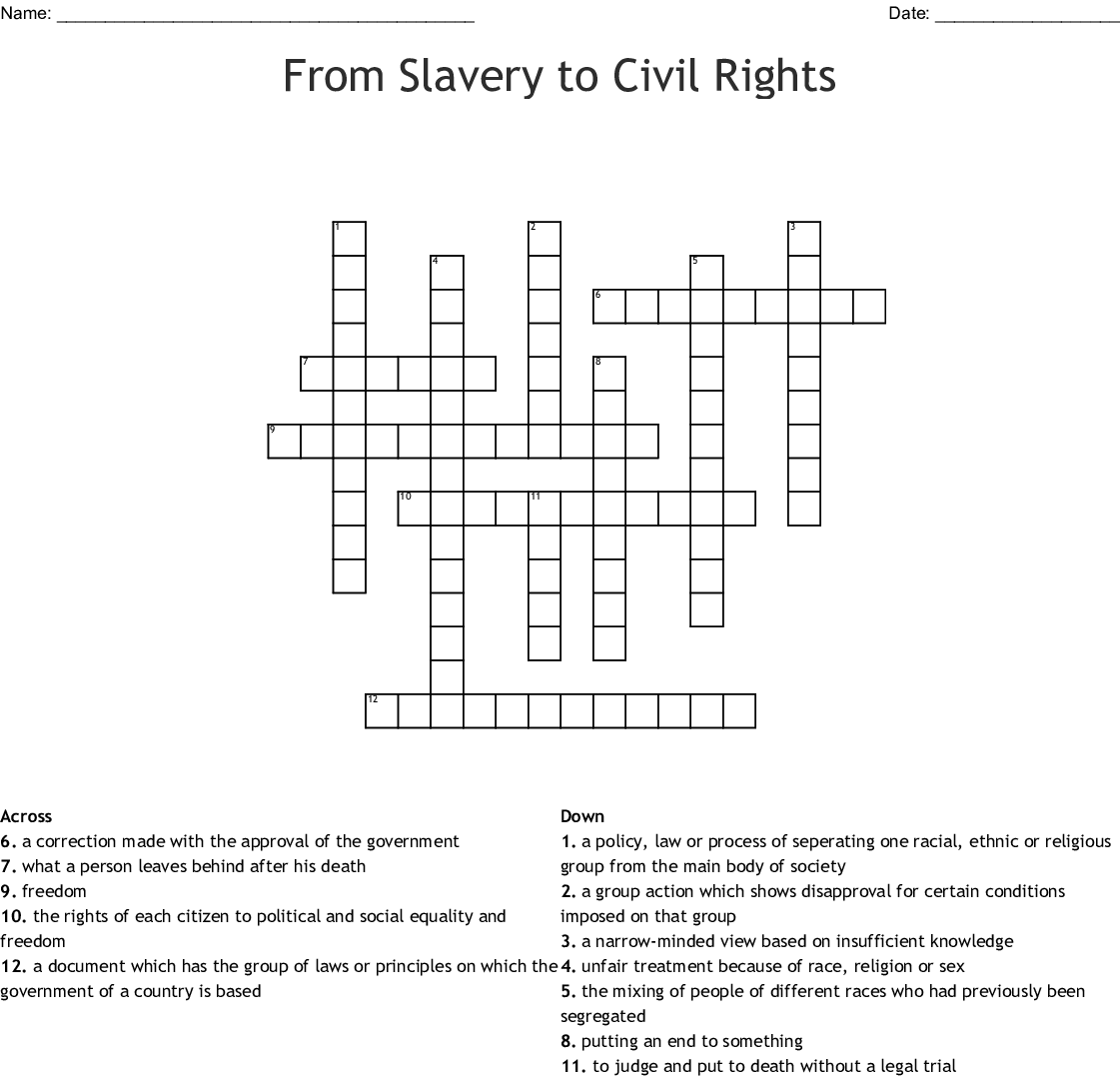 From Slavery To Civil Rights Crossword