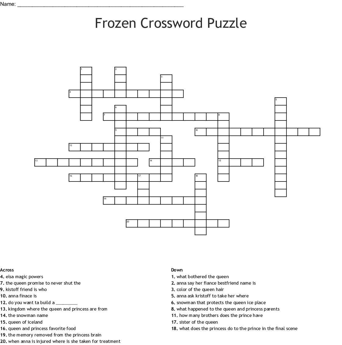 Frozen Crossword Puzzle