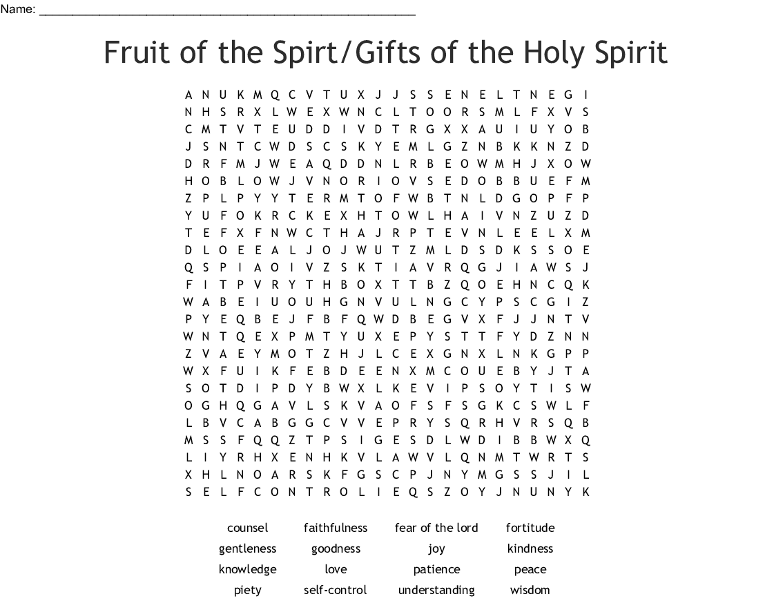Fruits Of The Holy Spirit Catholic Worksheet
