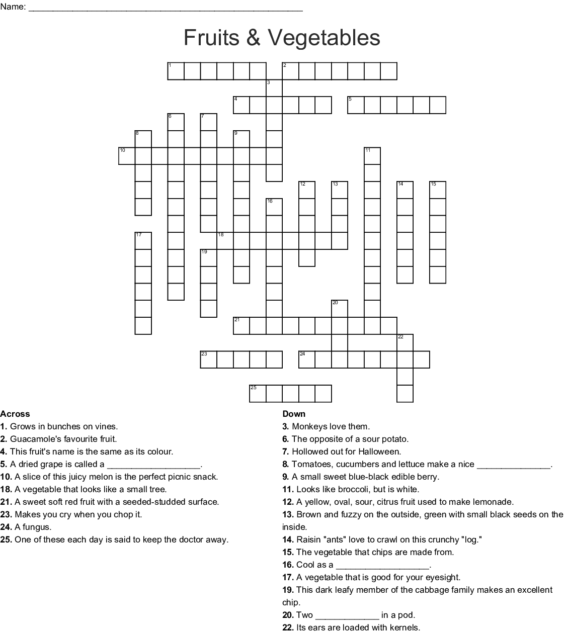 Fruit And Vegetables Crossword