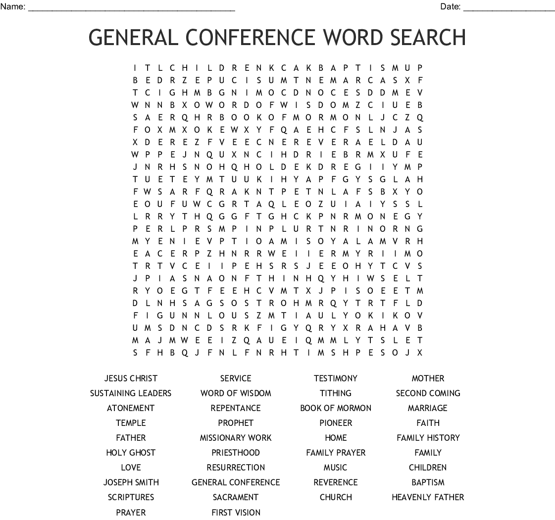 Missionary Work Word Search