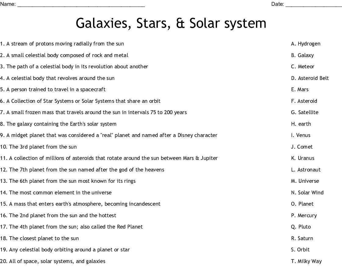 Galaxies Stars Amp Solar System Worksheet
