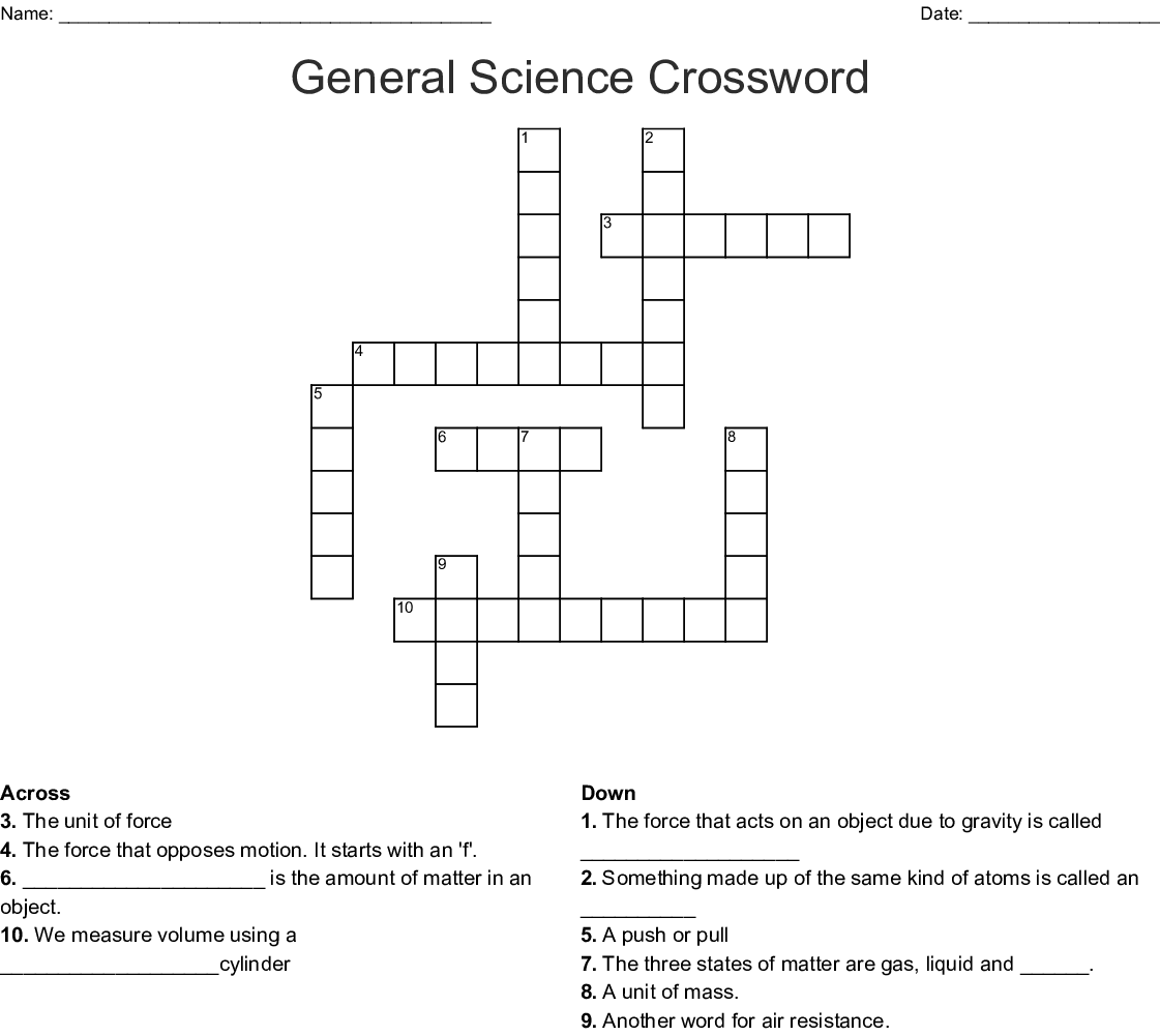 Science Crossword Puzzles Printable That Are Modest
