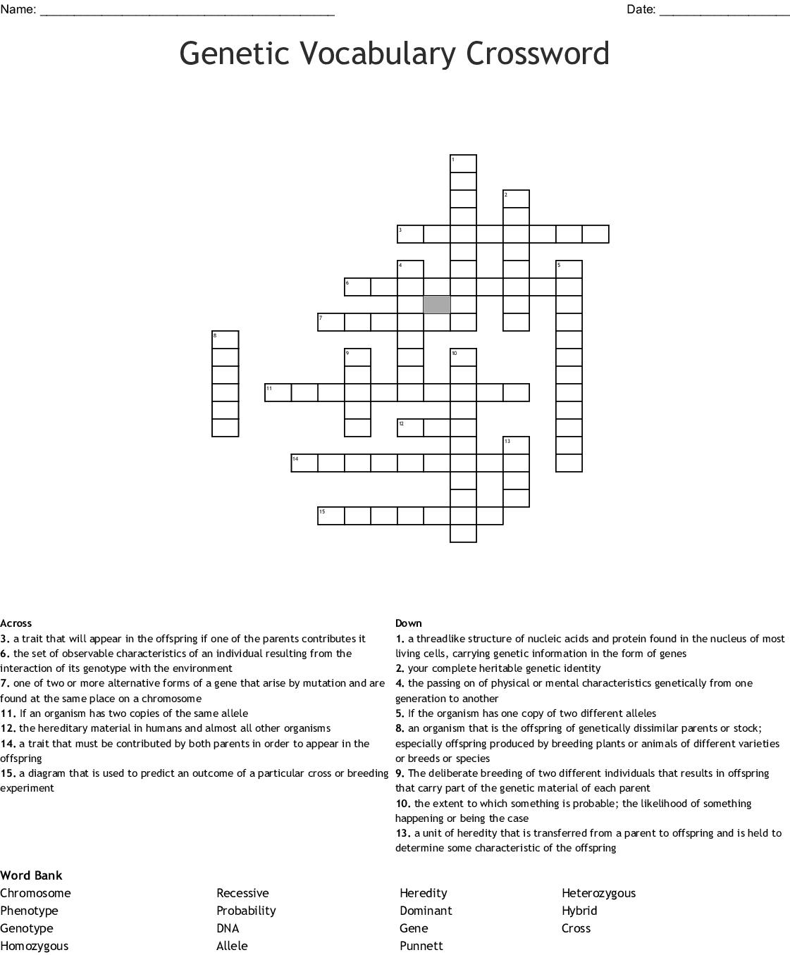 Genetic Vocabulary Crossword