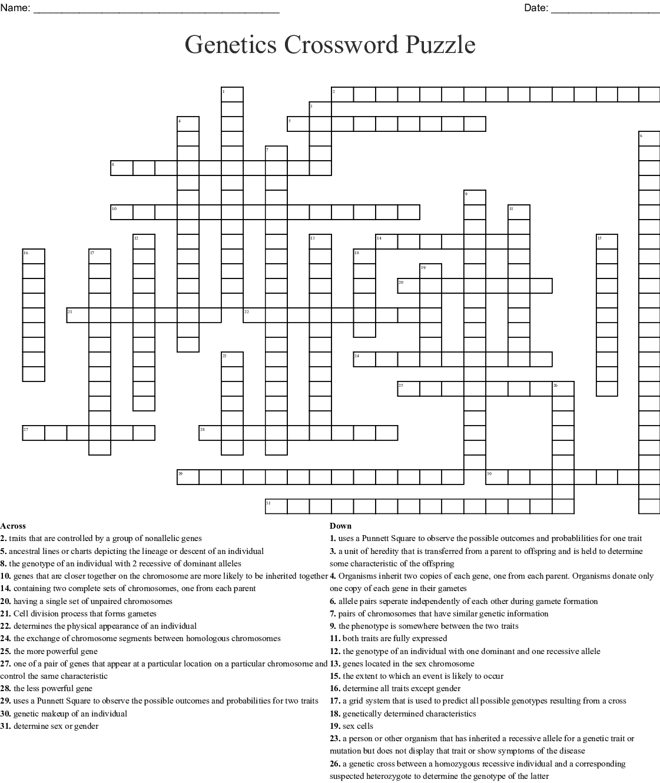 Genetics Unit Vocabulary Crossword Answer Key