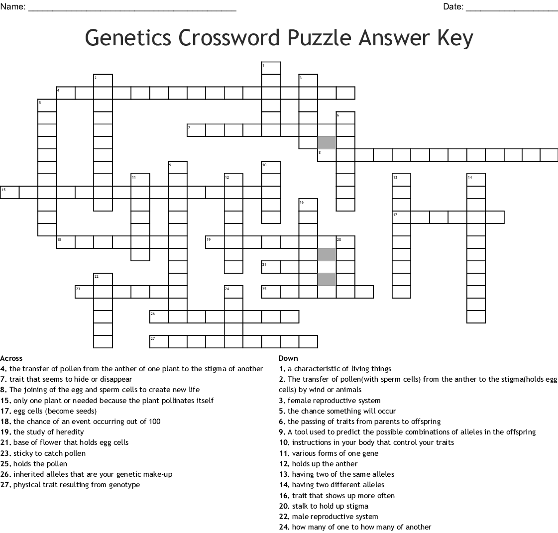Genetics Crossword Puzzle Answer Key Crossword