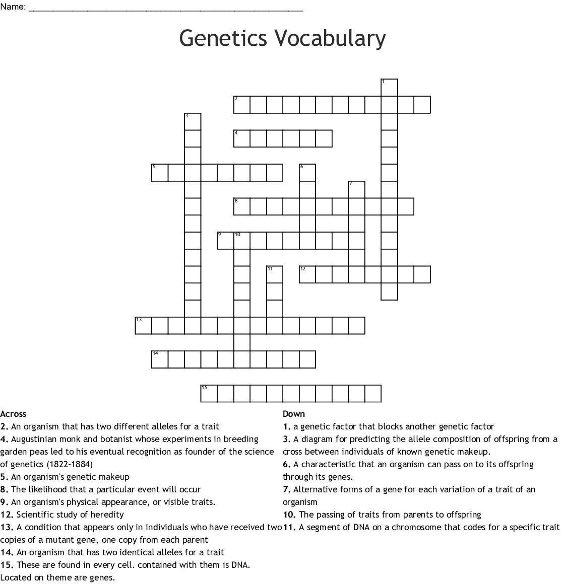 Biotechnology Crossword