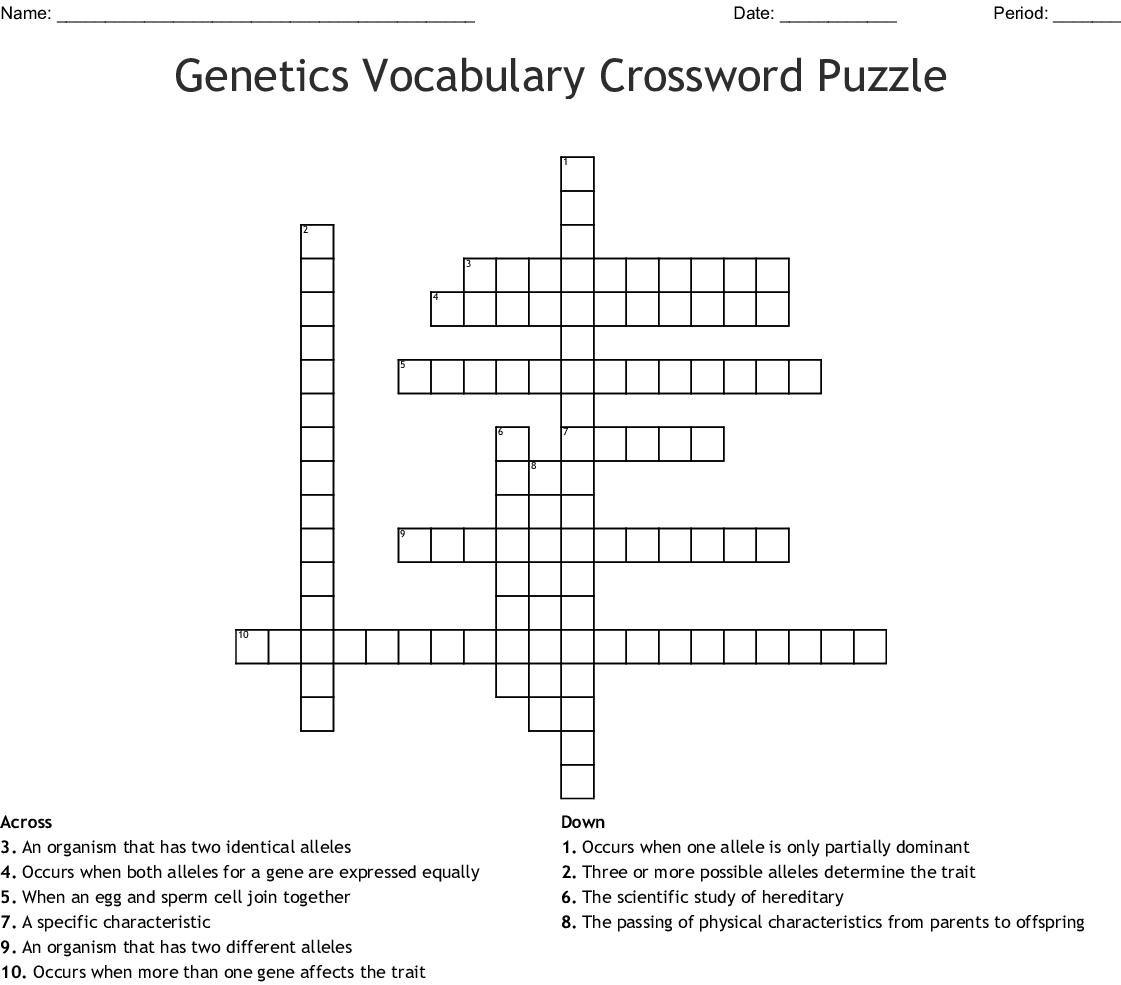 Genetics Vocabulary Crossword Puzzle Answers