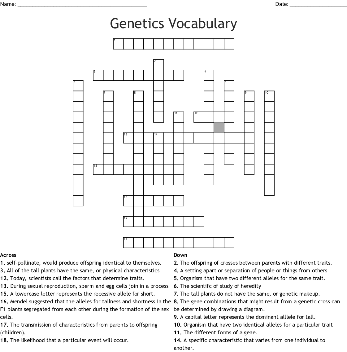 Heredity Crossword Puzzle
