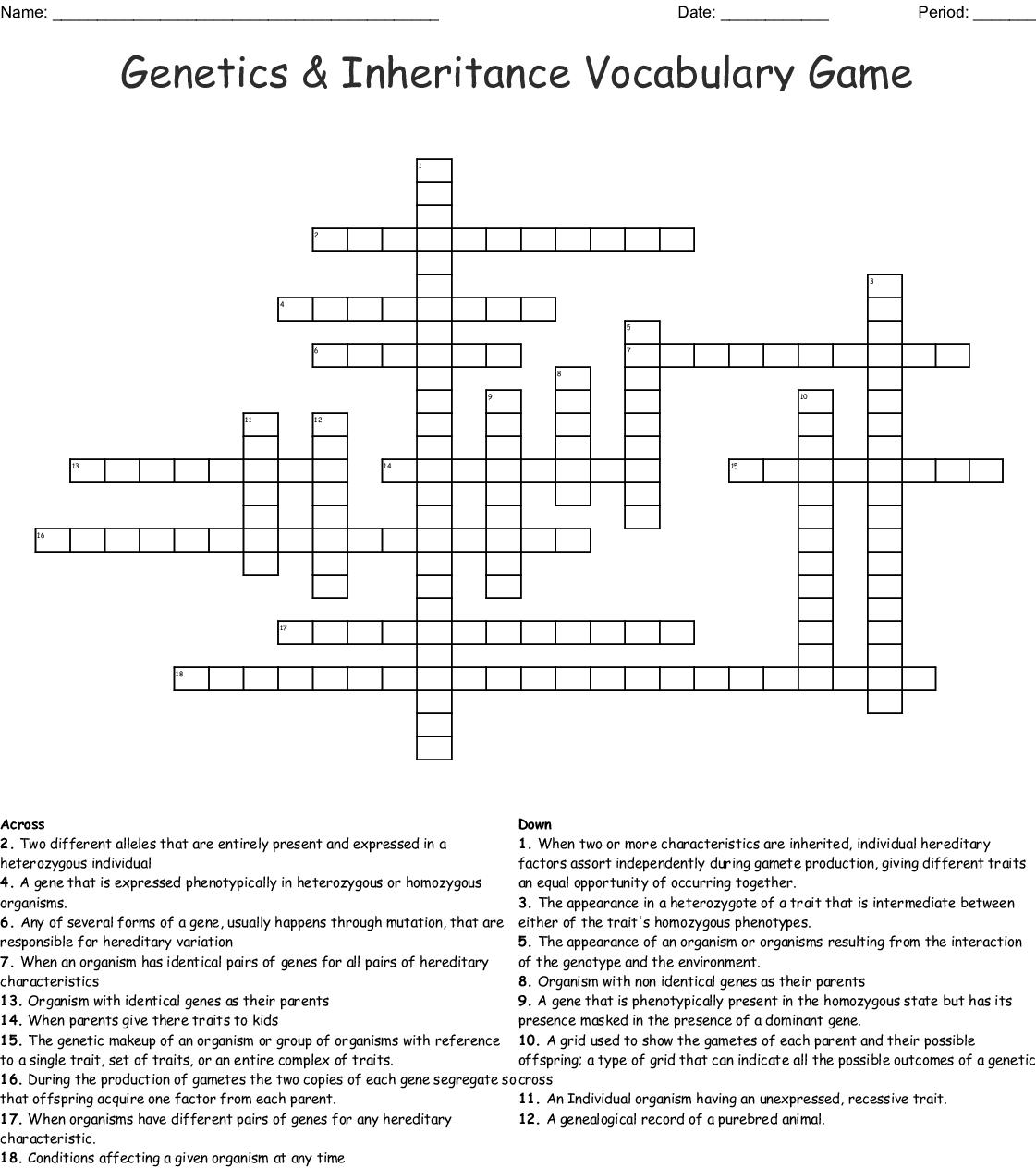 Genetics Amp Inheritance Vocabulary Game Crossword