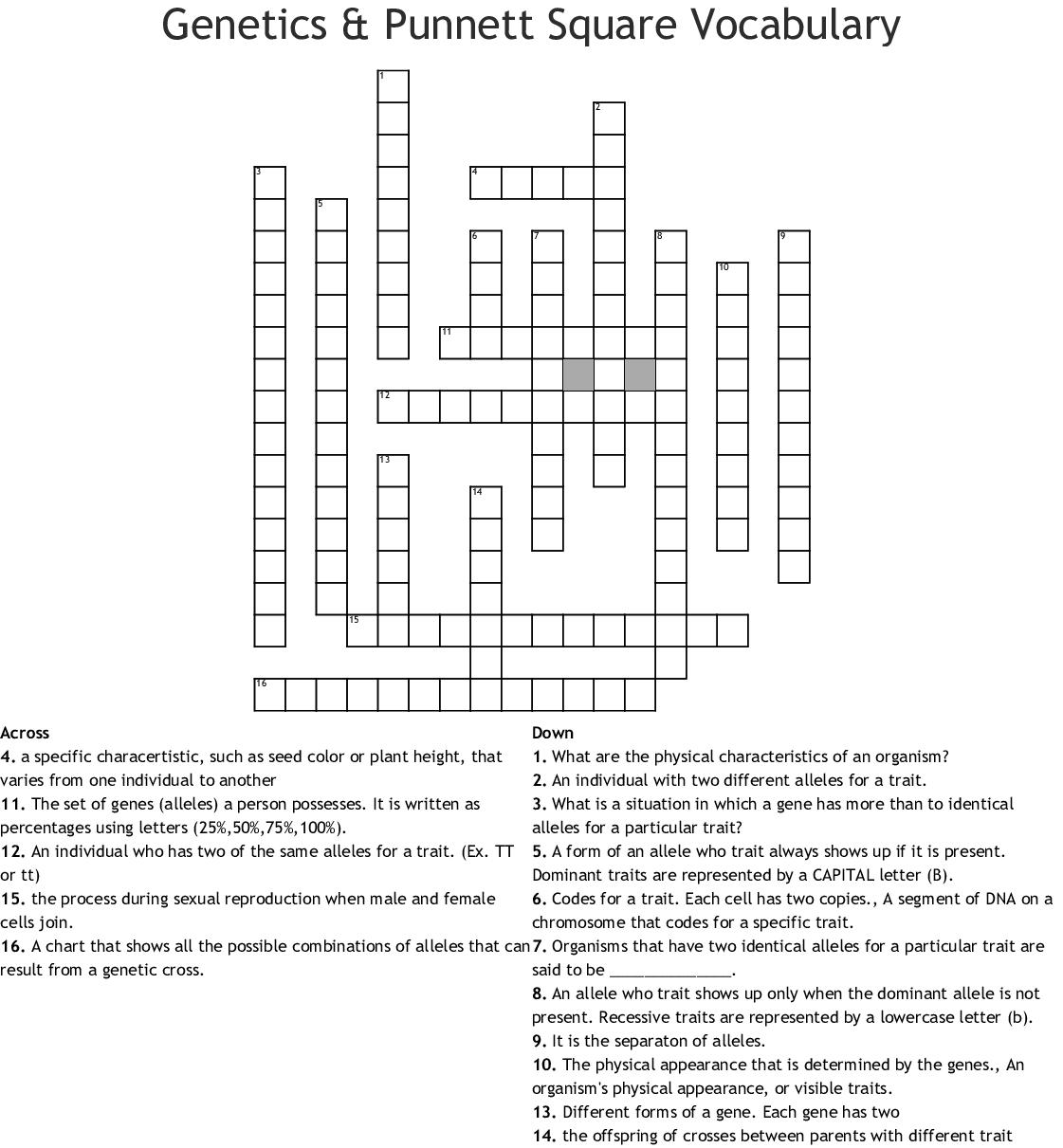 Genetics Amp Punnett Square Vocabulary Crossword