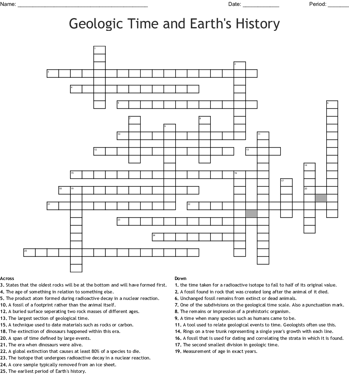 Geologic Time Scale Word Search