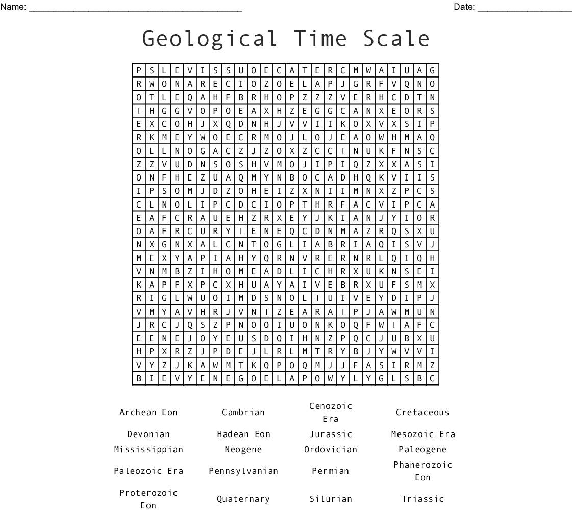 Geological Time Scale Word Search