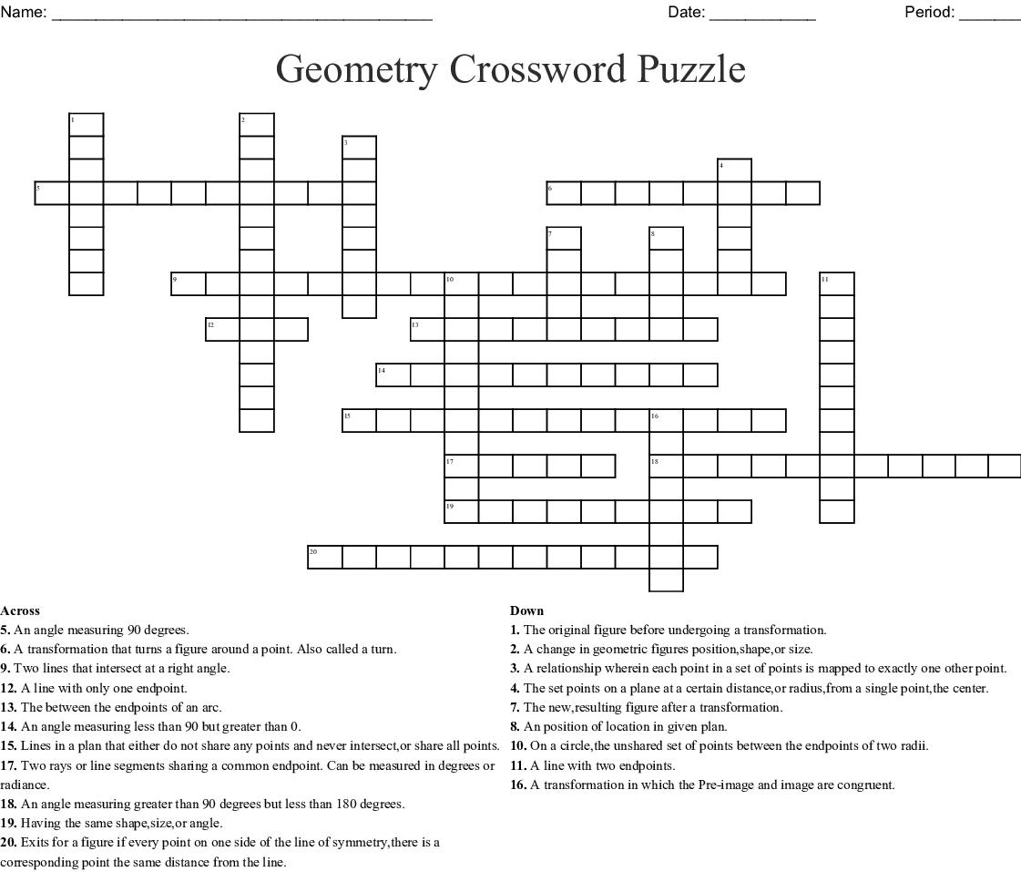 Geometry Crossword Puzzle Crossword