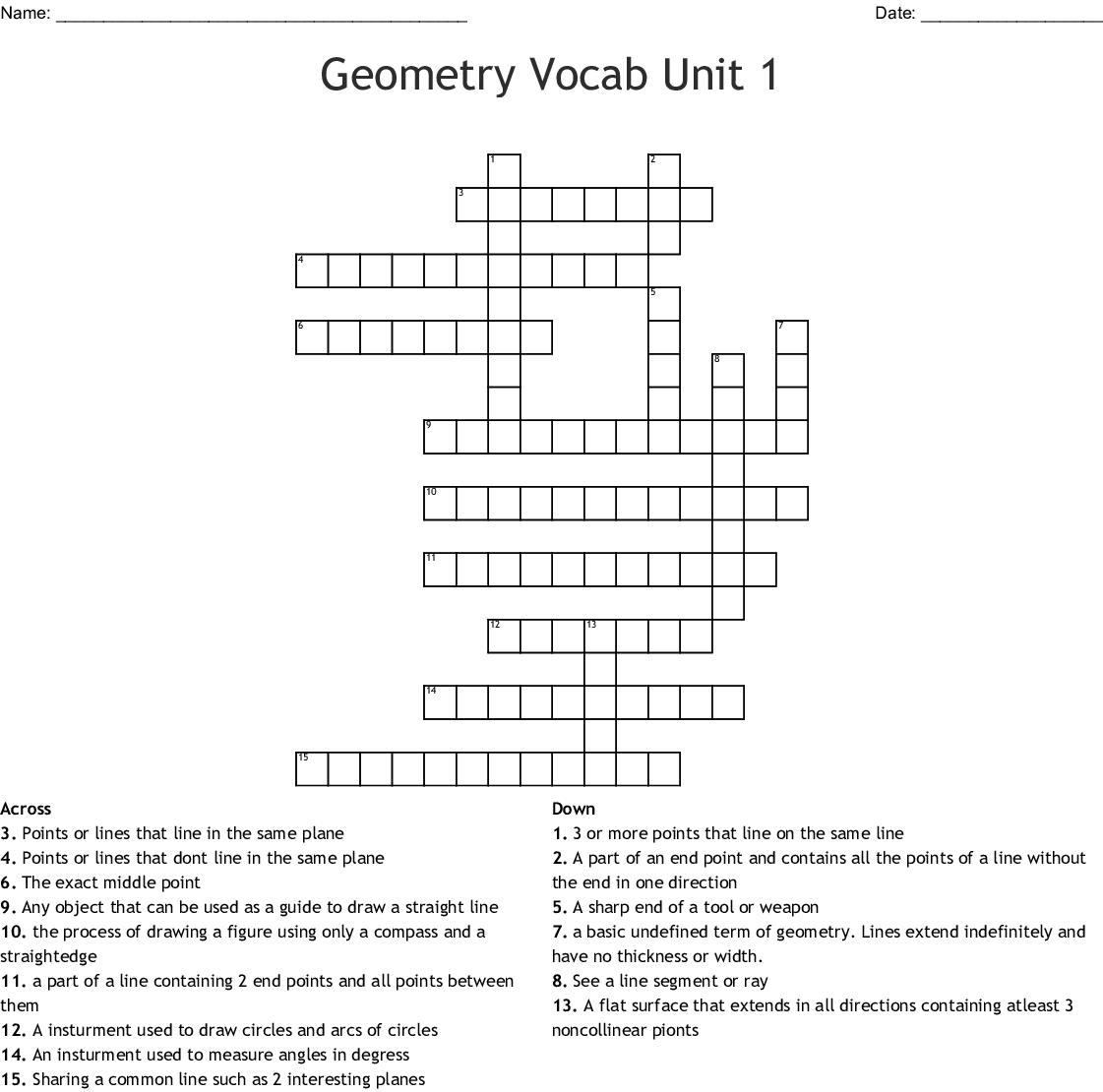 Geometry Vocab Unit 1 Crossword