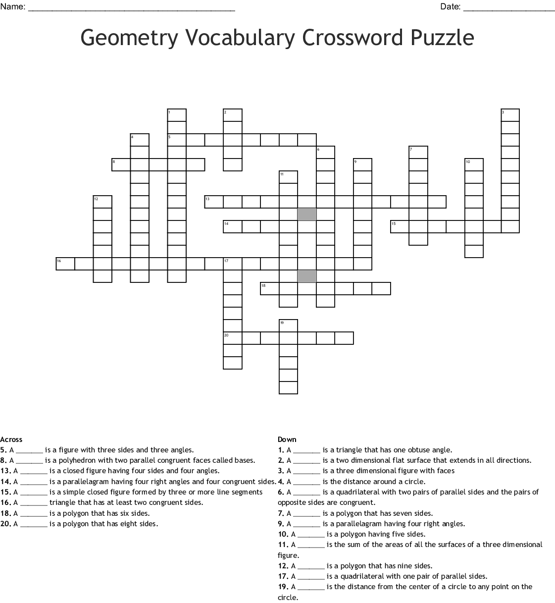 Perimeter And Area Crossword